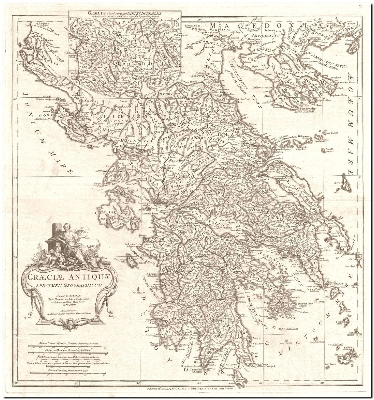 image relating to Printable Map of Ancient Greece referred to as 178277 Common ANVILLE MAP OF Historic GREECE DECOR WALL PRINT POSTER United kingdom  eBay
