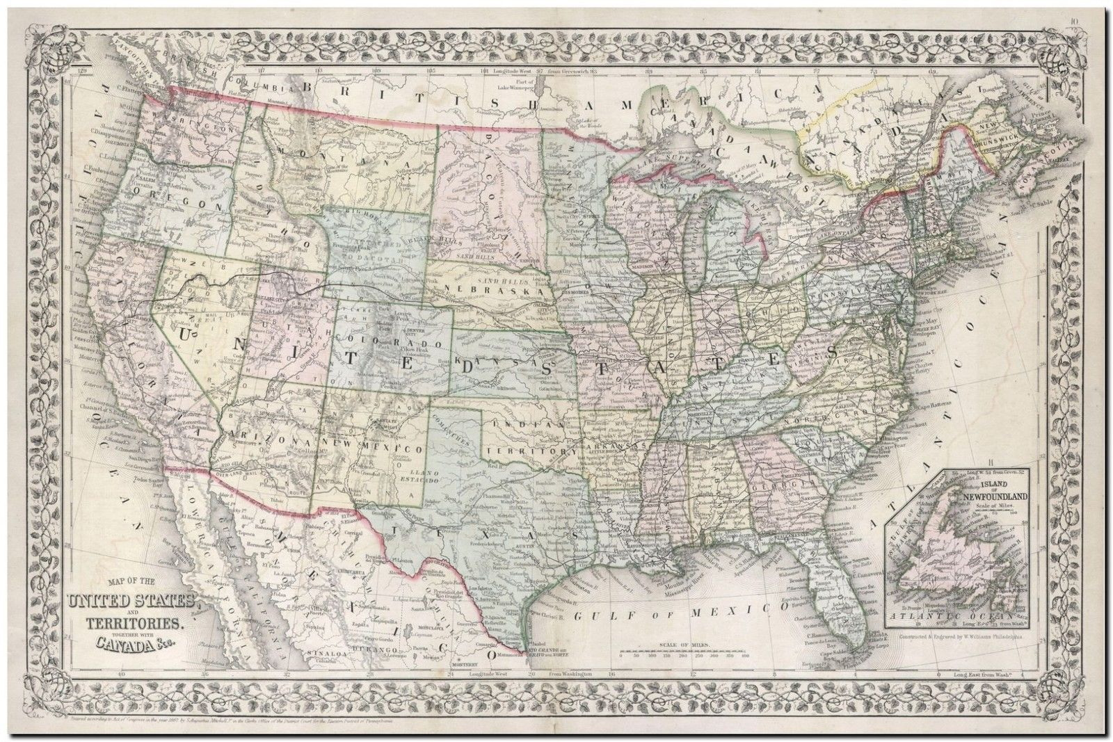 Map Of Uk For Printing.178983 Vintage Mitchell Usa Map Decor Wall Print Poster Uk Ebay
