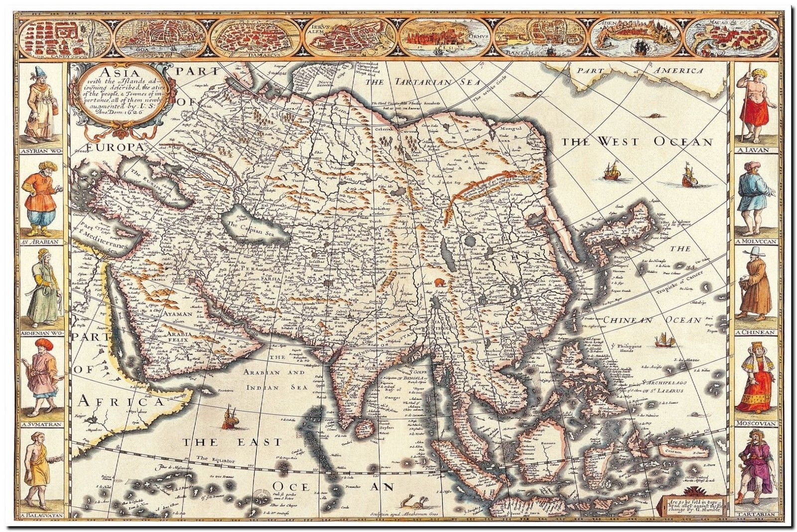 179157 MAP OF ASIA DECOR WALL PRINT POSTER CA