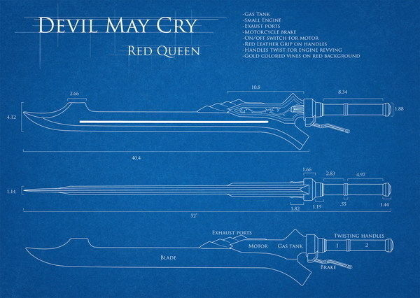 215242 Blue -Devil May Cry 4 red_queen Action TV Game Decor