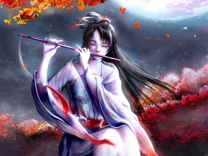 Flute Japanese girl Beauty Autumn Music Wall Print POSTER AU