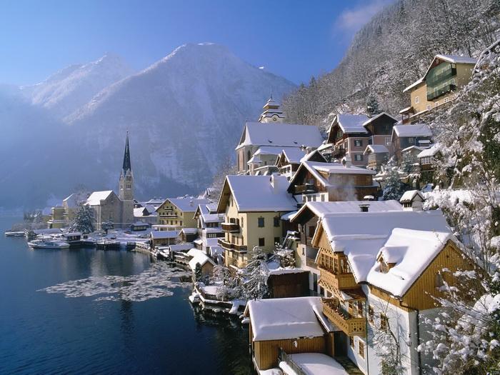 Austria Austria Austria Alps Mountain lake Amazing landscape Winter Snow Print POSTER Affiche 1a798b