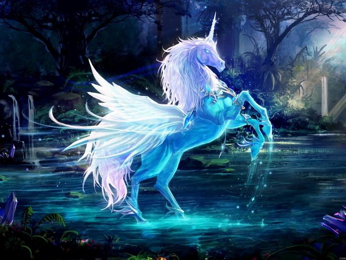 Crystal Lake Unicorn Fantasy Wall Print POSTER AU