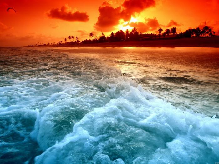 Sunrise Beach Foamy paradise Wall Print POSTER AU