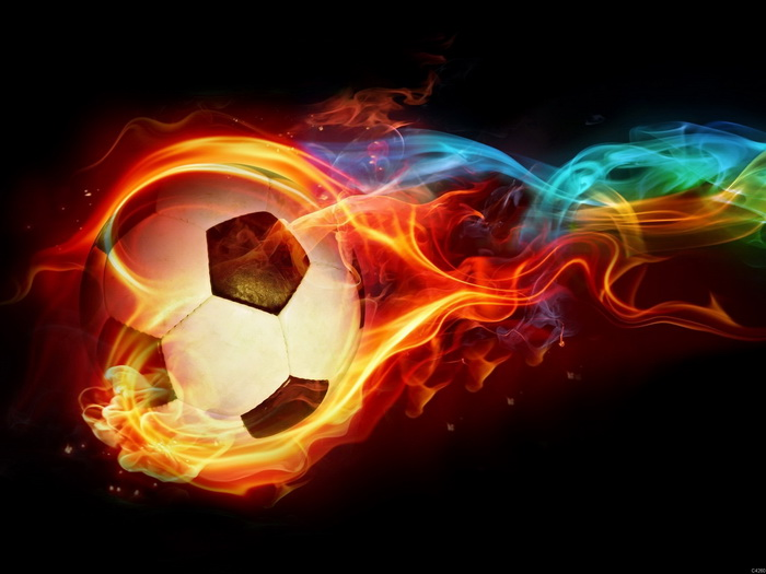 Football Fire Ball Wall Print POSTER AU