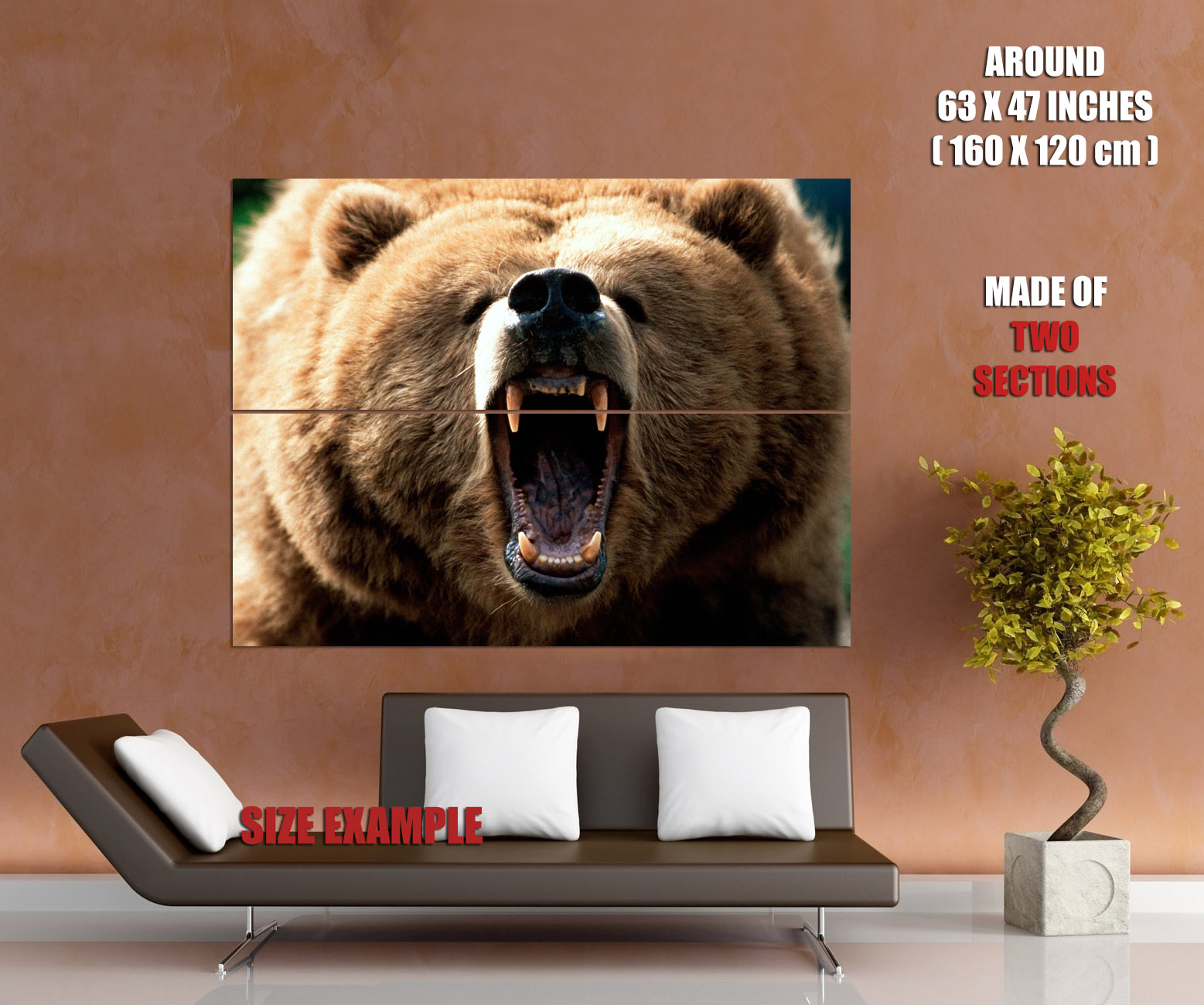 Grizzly Bear Roar Wild Nature Animal Animal Animal Wall Print POSTER US 461dcd