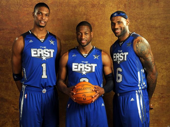 James Wade Bosh East All-Star NBA FRAMED CANVAS PRINT FR