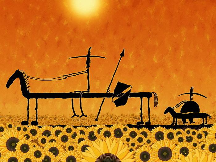 DON QUIXOTE Sunflowers Cool Art Wall Print POSTER UK