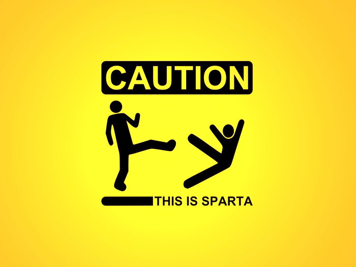 THIS IS SPARTA Caution Minimal Art FRAMED CANVAS PRINT DE