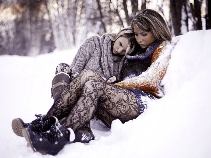 Image Is Loading Sexy Babes Stocking Snow Winter Lesbian Wall Print