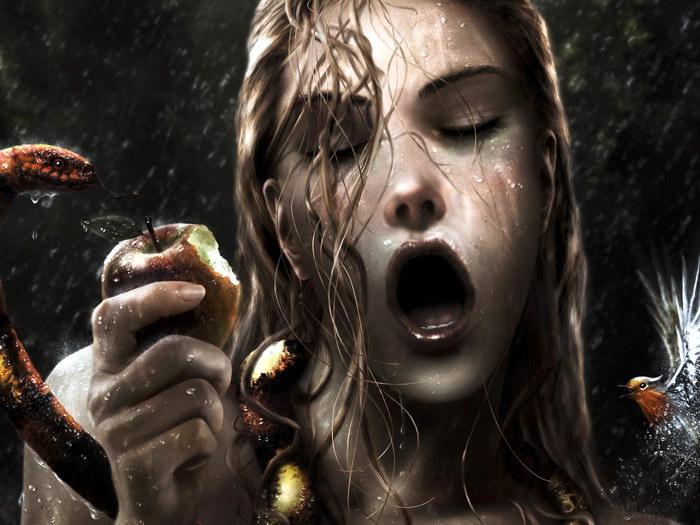 ORIGINAL SIN Horny Wet Girl Snake FRAMED CANVAS PRINT DE