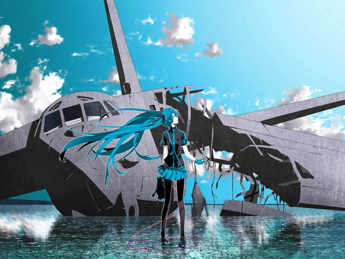 Hatsune Miku Headphones Vocaloid Plane Anime Art FRAMED CANVAS PRINT DE