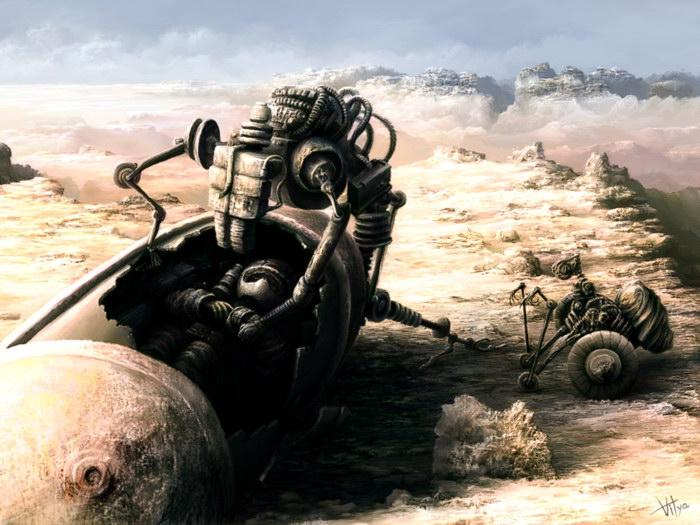 Fantastic Scavengers Robots Desert Art FRAMED CANVAS PRINT DE