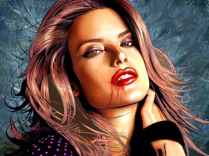 Alessandra Ambrosio Ambrosio Ambrosio rosso Lips Portrait Art Model FRAMED CANVAS PRINT DE efe8f4