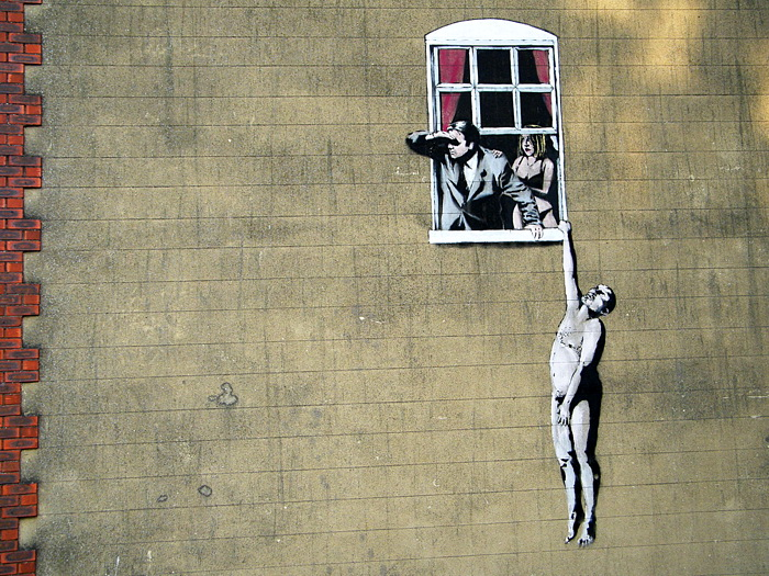 Cheating Window Naked Man Banksy Graffiti Street Art Print POSTER Plakat