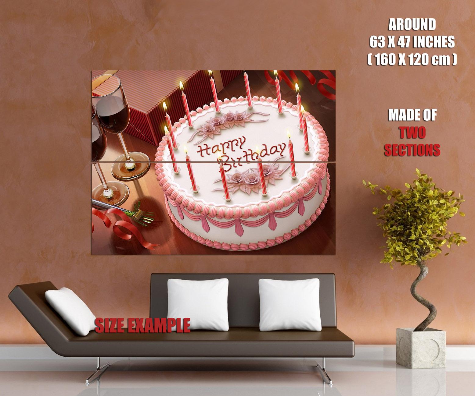 Happy Birthday Cake Candles Holiday Triumph Wall Print