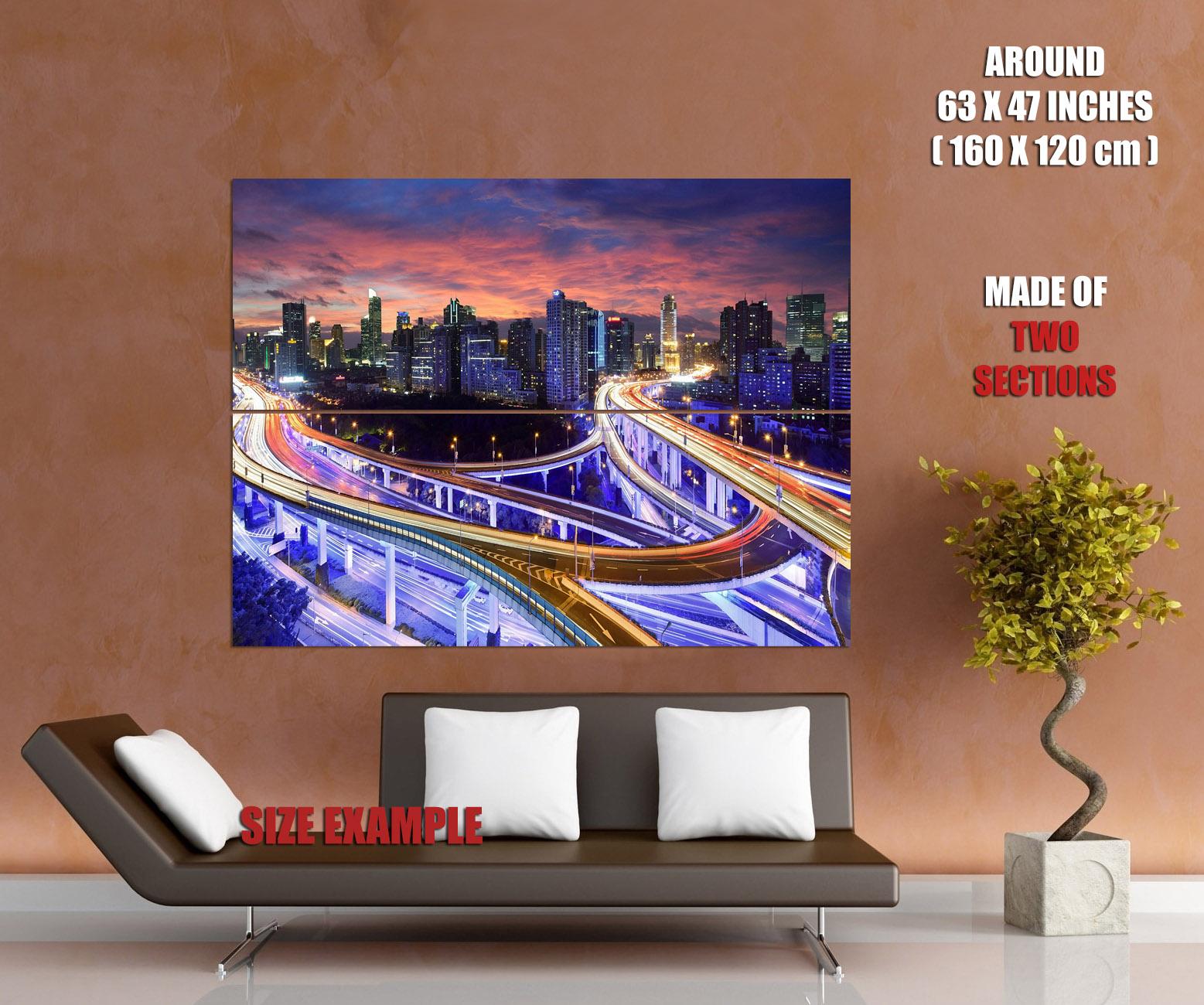 SUPERB-Skyscraper-Megapolis-City-Lights-Traffic-Road-Wall-Print-POSTER-AU