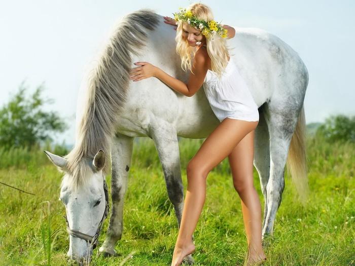 Beautiful wreath bianca horse sexy girl FRAMED FRAMED FRAMED CANVAS PRINT FR 77a23e