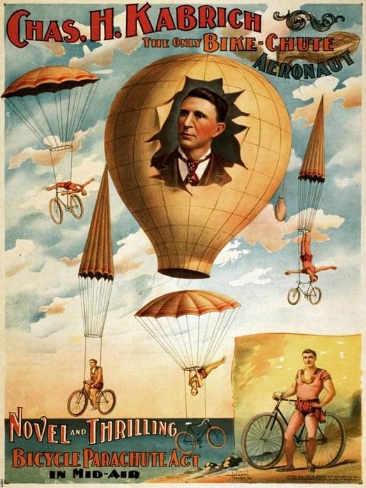 Chas. H. Kabrich Bike-Chute Aeronaut Vintage FRAMED CANVAS PRINT DE