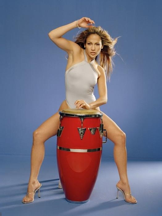 Jennifer Lopez Actress Movie Star Bikini Drum FRAMED CANVAS PRINT FR