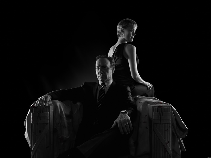 House Of Cards Wright Spacey TV Series B&W Wall Print POSTER AU