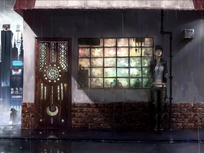 City Night Rain Lonely Girl Anime Art Wall Print POSTER CA
