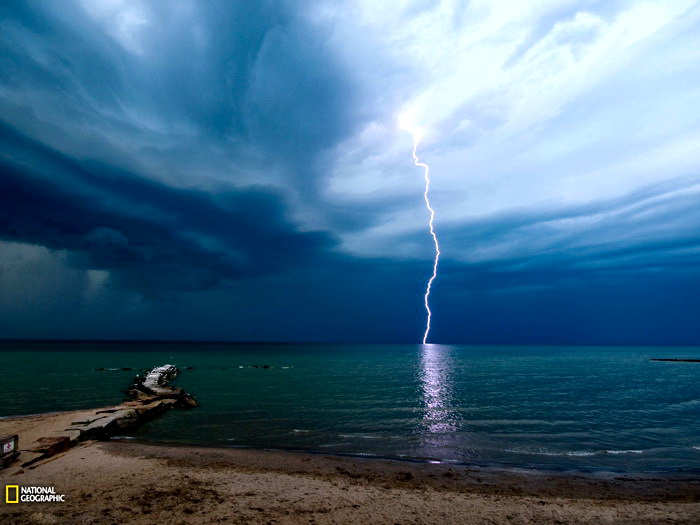Image Is Loading Lightning Beach Ohio National Geographic Wall Print Poster