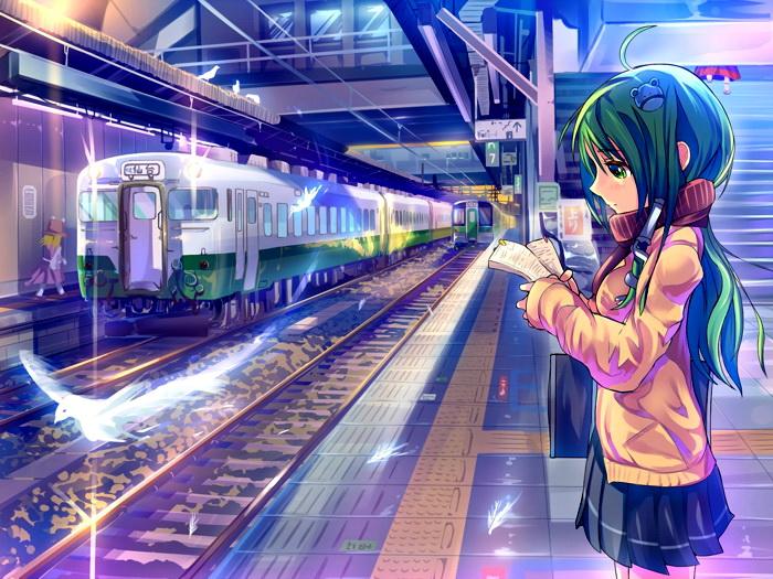 Girl Girl Girl Train Station Manga Anime Art FRAMED CANVAS PRINT DE c430f8