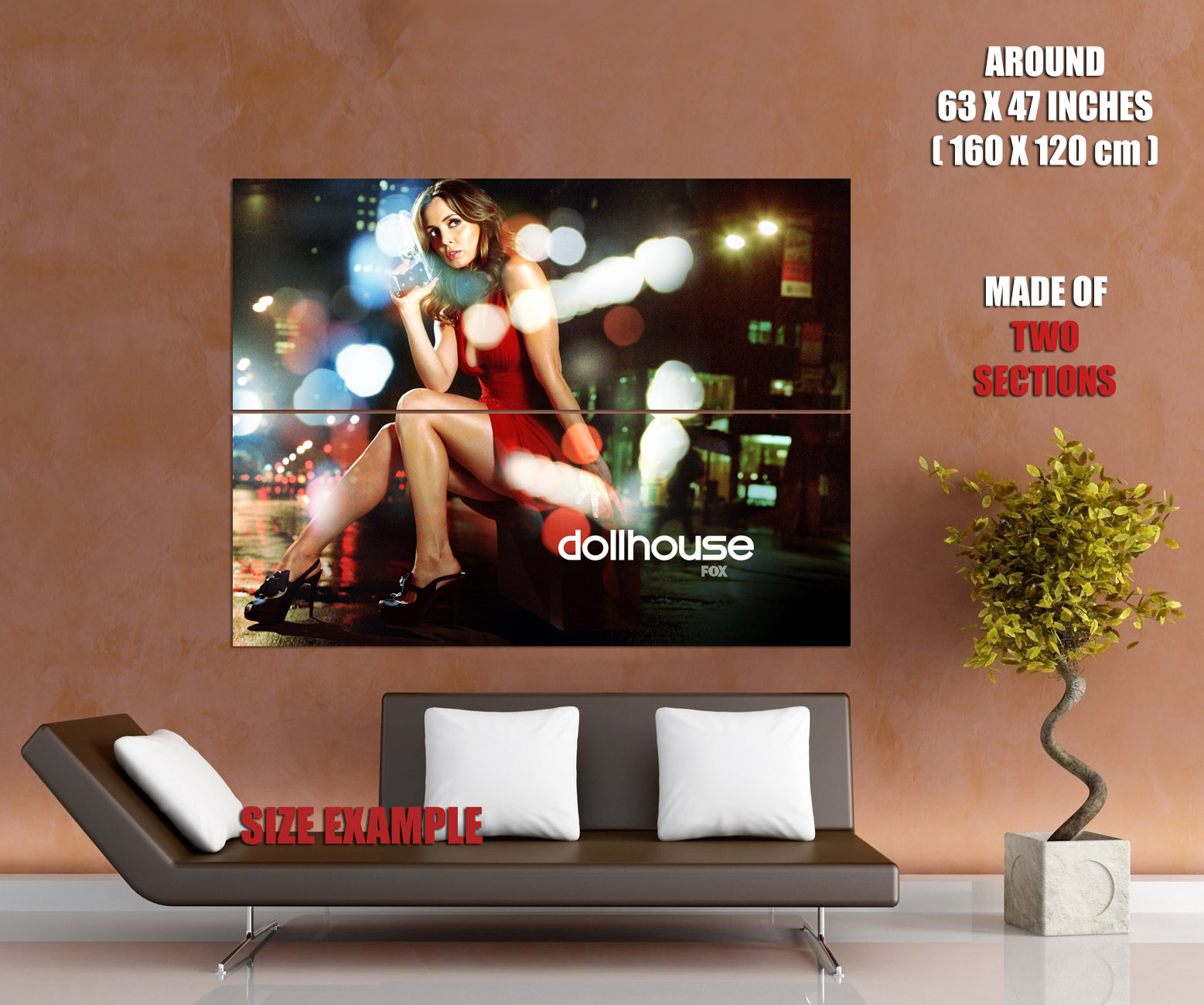Eliza-Dushku-Hot-Red-Dress-Gun-Sexy-Dollhouse-Series-HUGE-GIANT-PRINT-POSTER