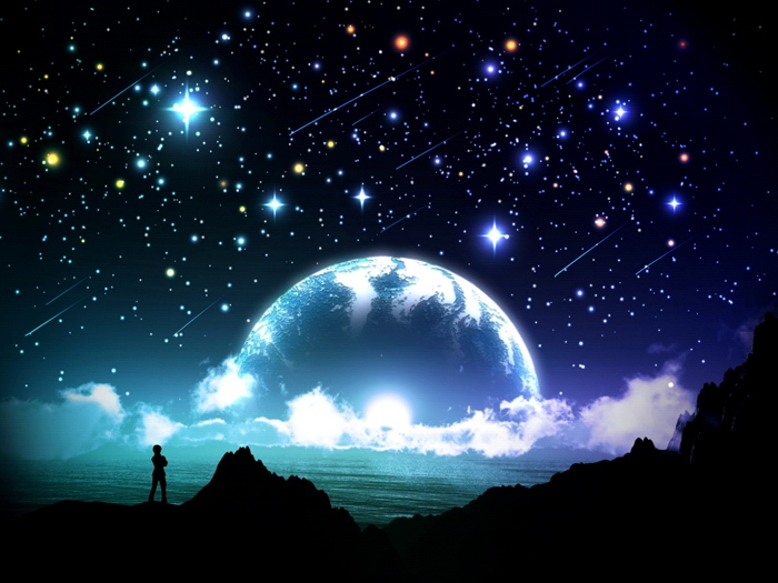 Image Is Loading Amazing Night Stars Planet Moon Beautiful Art Huge