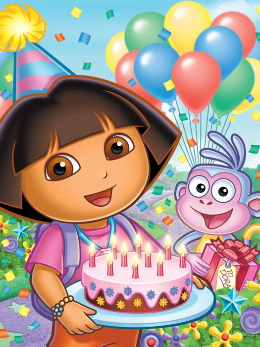 Dora The Explorer Birthday Cake Cartoon Beautiful Kids Giant Wall