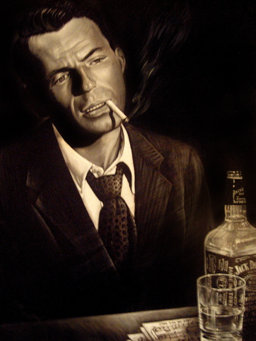 frank sinatra retro vintage painting smoking portrait huge giant