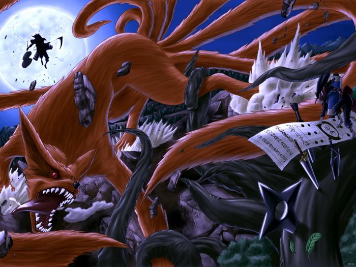 naruto kurama nine tails madara uchiha anime huge giant wall print